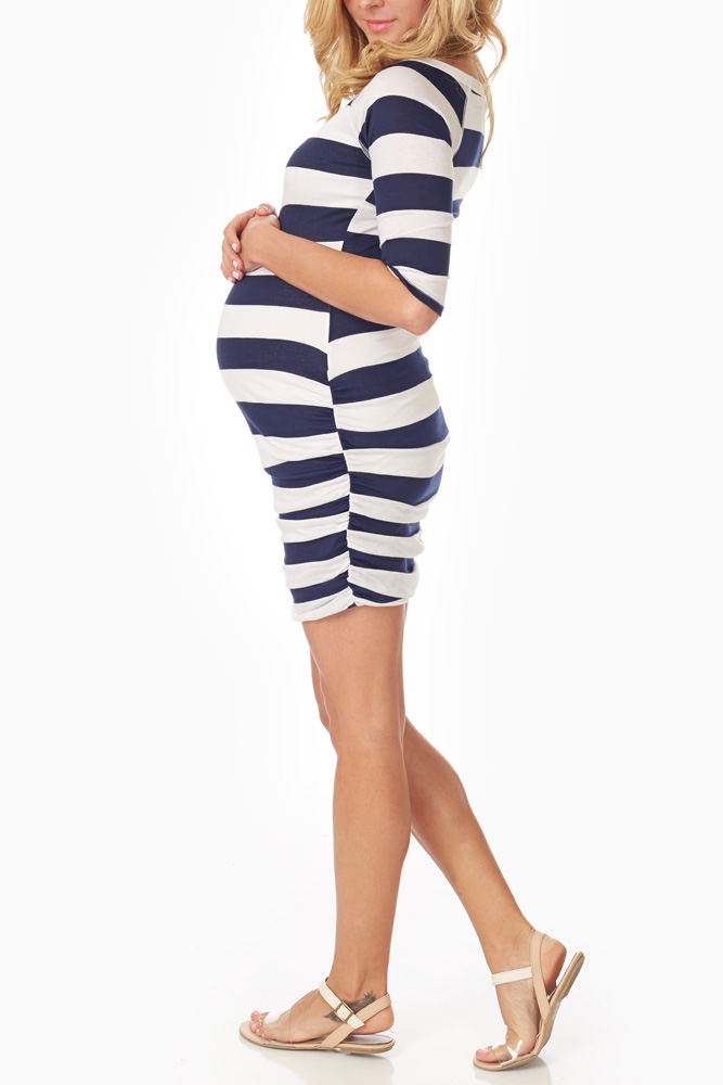 5a2604e87b4ac Navy Blue White Striped Fitted Maternity Dress