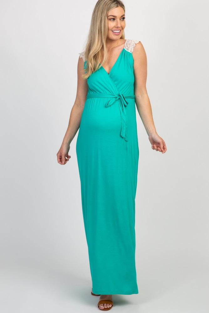 0057f0abb68 Aqua Crochet Back Maternity Nursing Maxi Dress