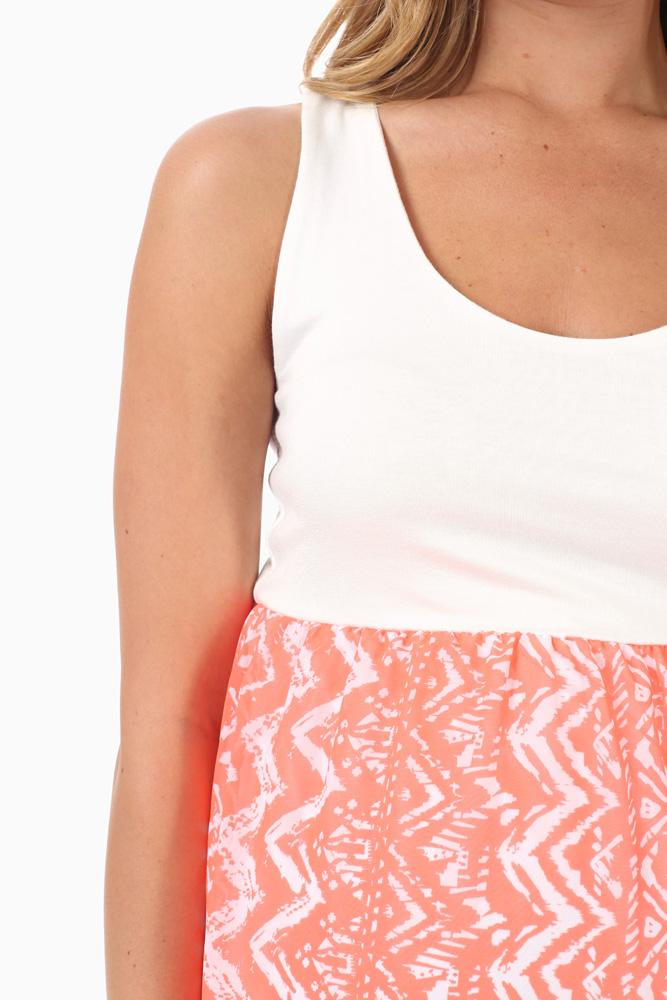 d9e439633425b Neon Coral Chiffon Tribal Print Maternity Maxi Dress