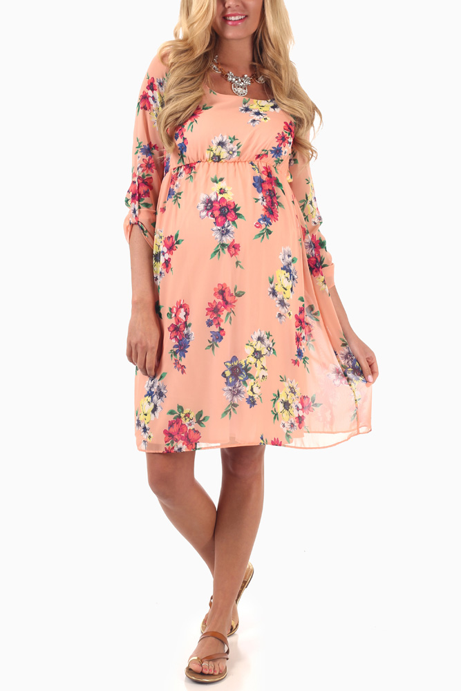 9b49326bb5916 Peach Floral Print 3/4 Sleeve Maternity Dress
