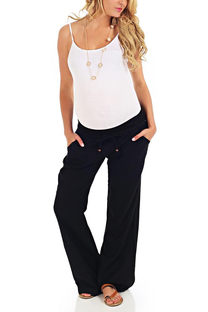 4a91d8ff96e Black Linen Maternity Yoga Pants
