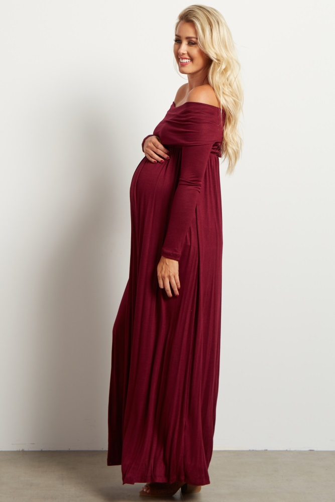 1f88d6f29dfb1 Burgundy Cowl Neck Long Sleeve Maternity Maxi Dress