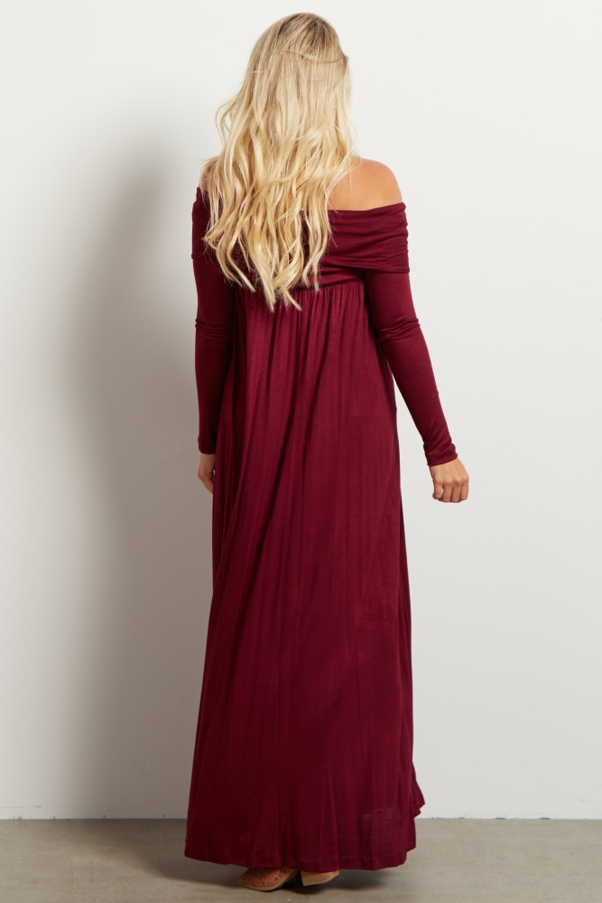 a15c1b7d52b77 Burgundy Cowl Neck Long Sleeve Maternity Maxi Dress