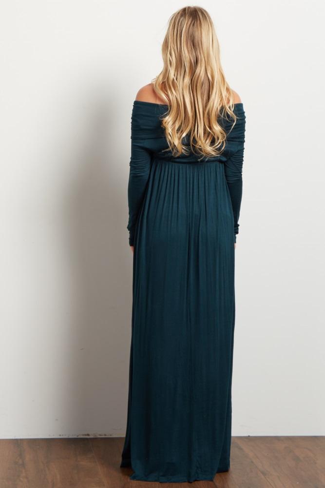 c8169b32698d2 Forest Green Cowl Neck Long Sleeve Maternity Maxi Dress