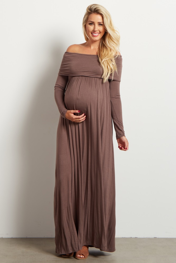 e1ea81a923a03 Mocha Cowl Neck Long Sleeve Maternity Maxi Dress