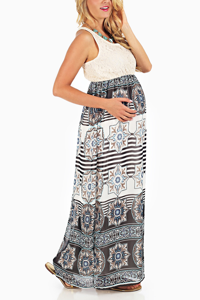 3972adef31 Black Blue White Printed Crochet Top Maternity Maxi Dress