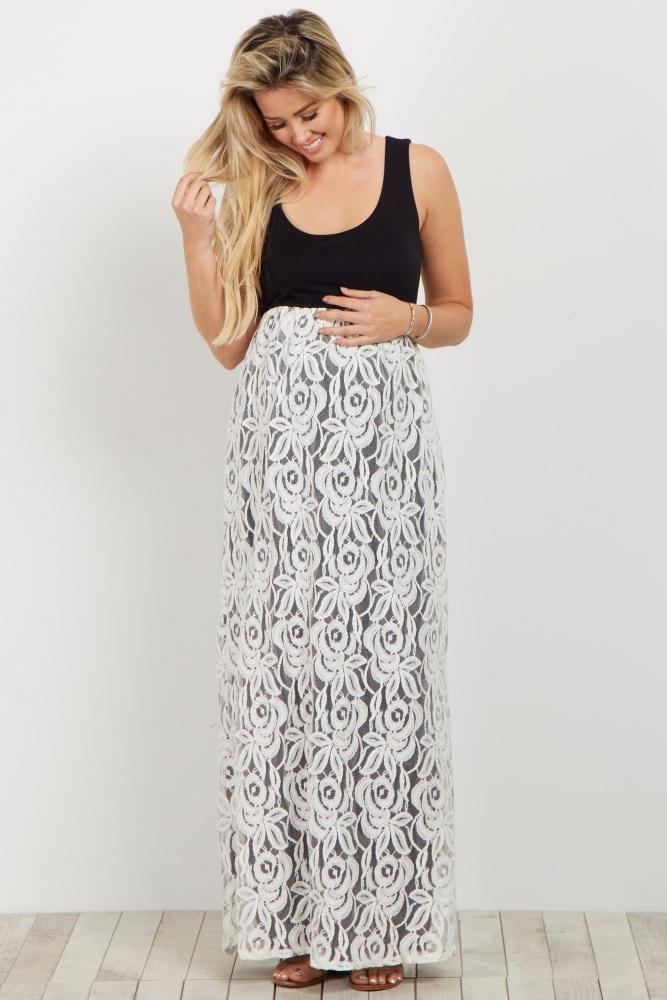2a7f8a9ed58 Black White Lace Colorblock Maternity Maxi Dress