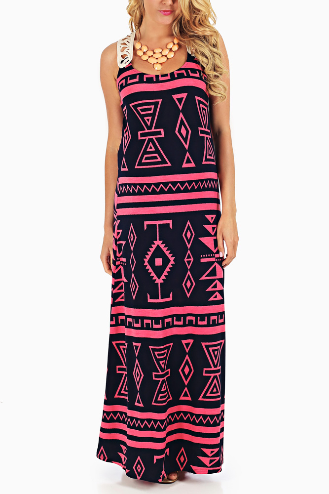 c60d0a835b Navy Blue Pink Tribal Printed Crochet Back Maternity Maxi Dress