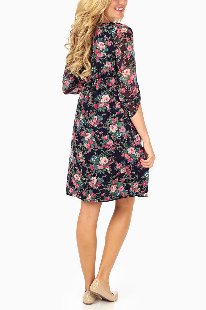 f69ddb0622687 Navy Blue Rose Floral Printed 3/4 Sleeve Chiffon Maternity Dress