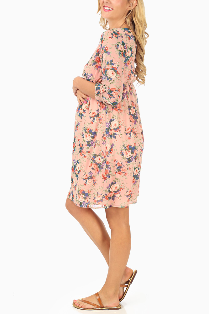 df5d8bdc64bd9 Light Pink Rose Floral Printed 3/4 Sleeve Chiffon Maternity Dress