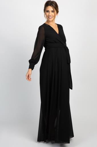 Black Chiffon Pleated Maternity Maxi Dress