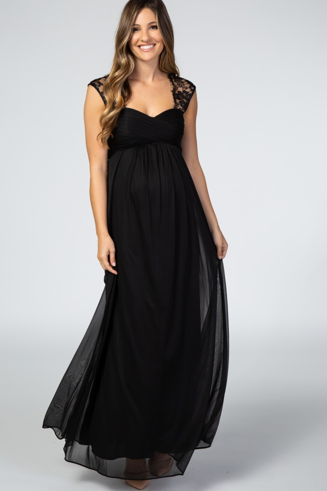 Black Lace Accent Chiffon Maternity Evening Gown