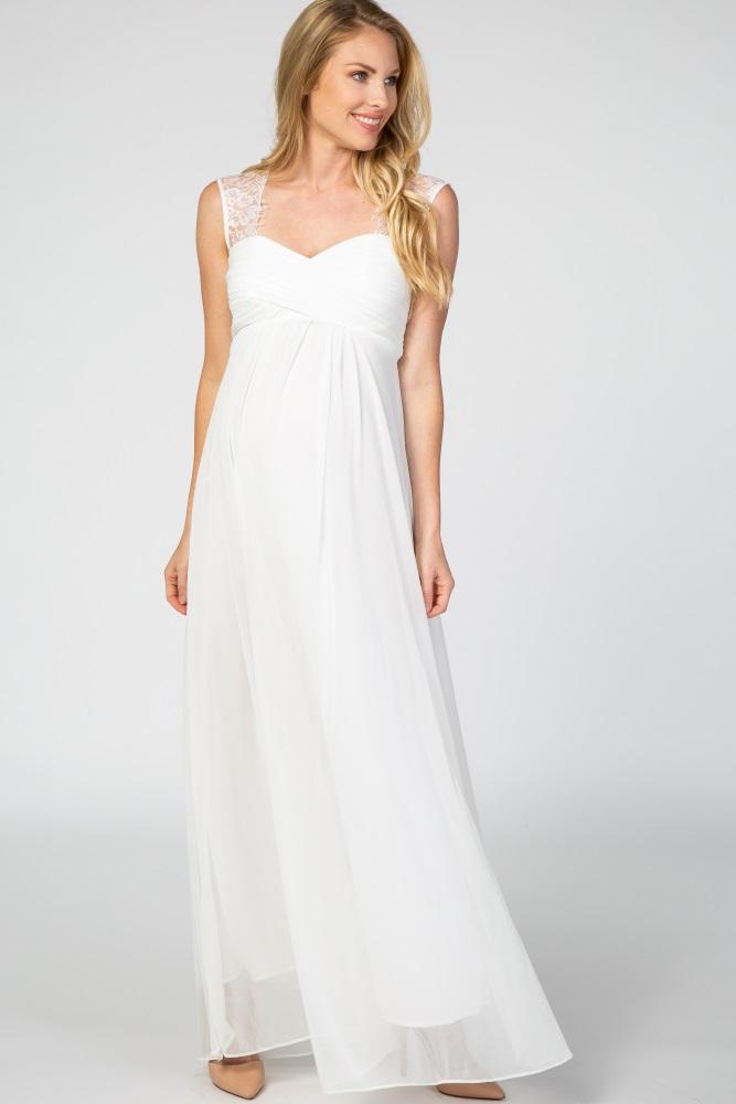 Chiffon Evening Maternity Dress Size 8-18 Black /& Ivory