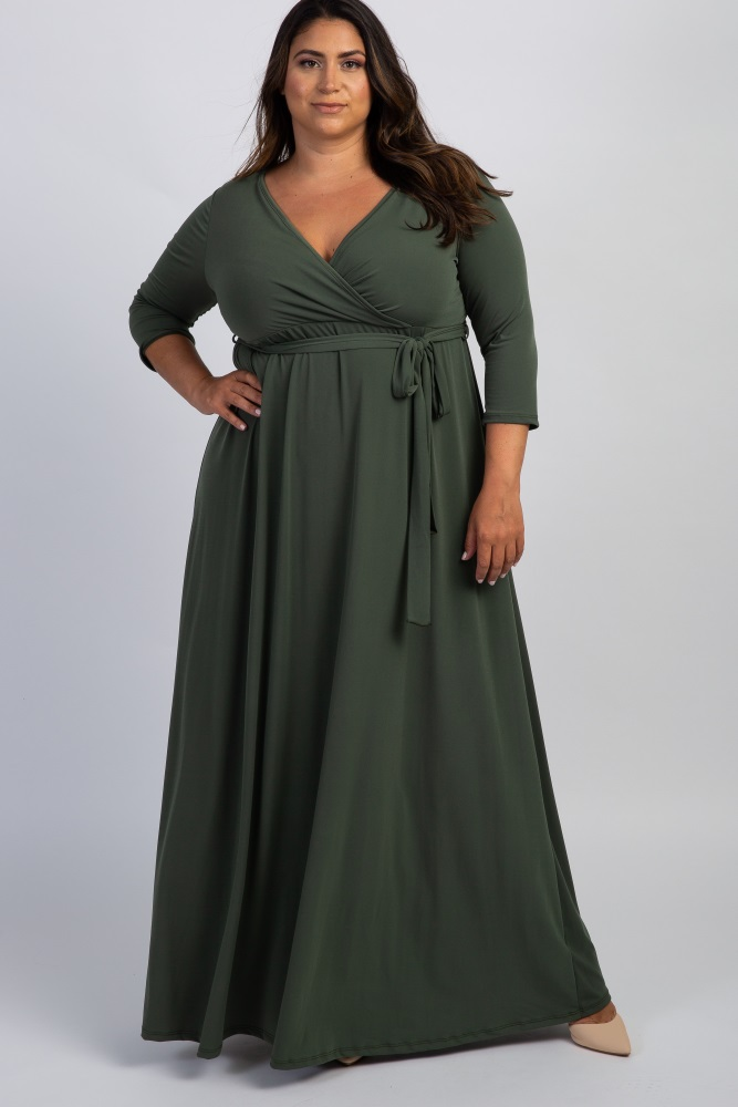 Olive Green Draped 3/4 Sleeve Plus Size Maxi Dress