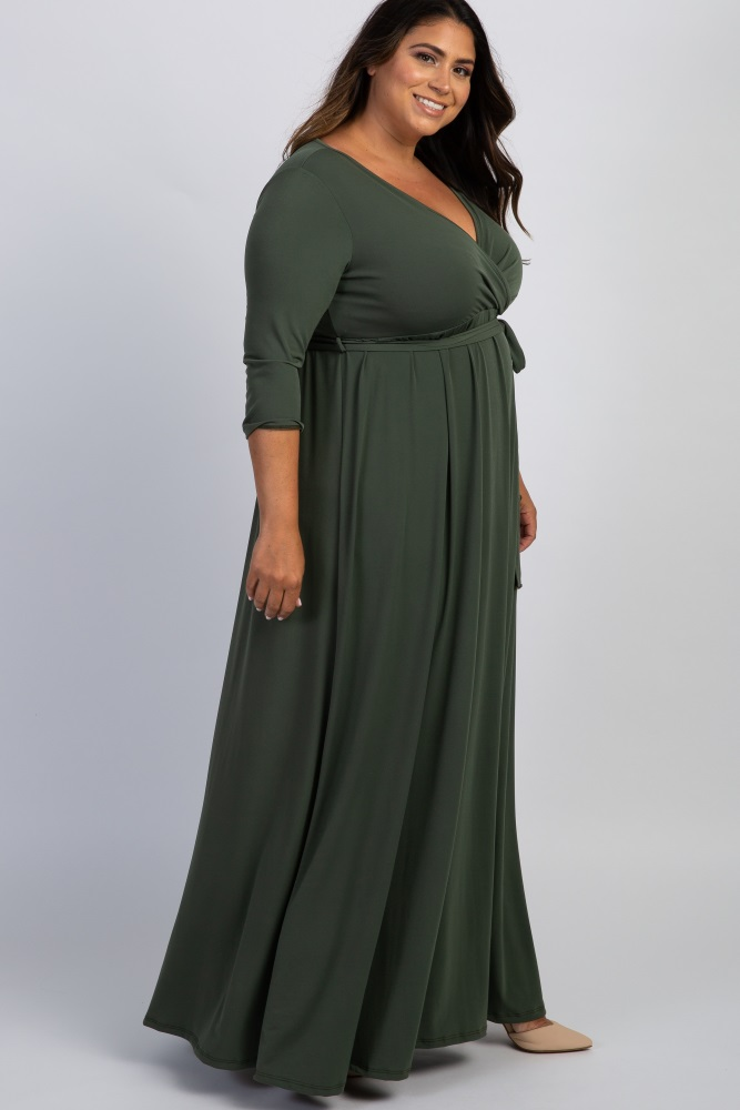Olive Sash Tie Wrap Plus Maxi Dress