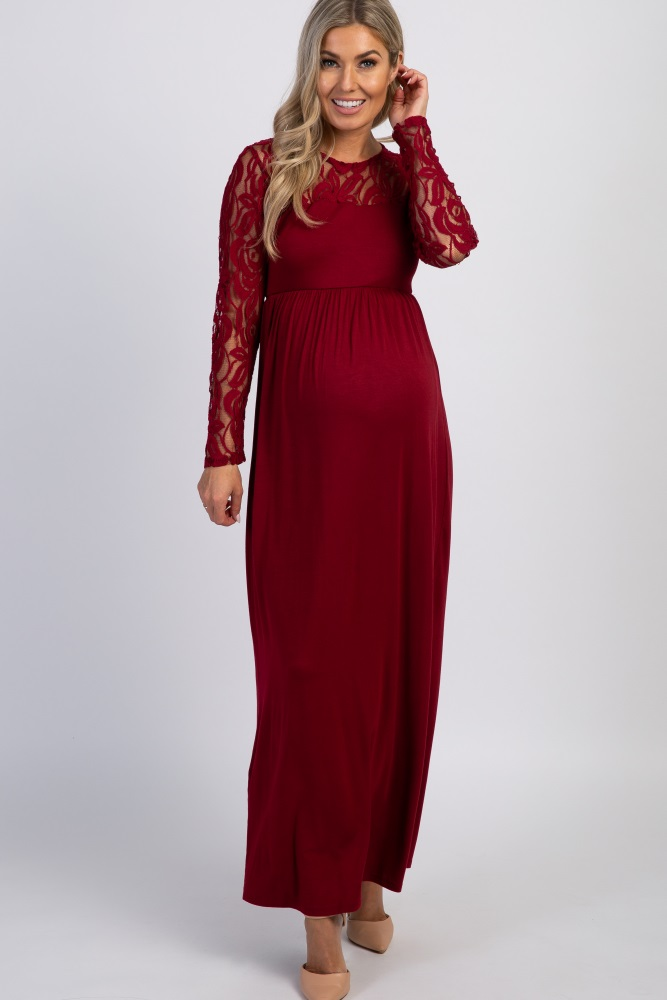 top style first rate hot sale Burgundy Lace Sleeve Maternity Maxi Dress