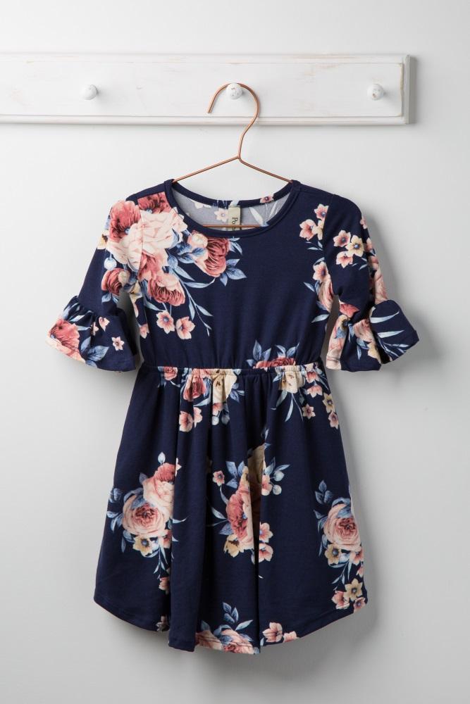 8a17b4824 Navy Blue Rose Floral Ruffle Trim Toddler Dress