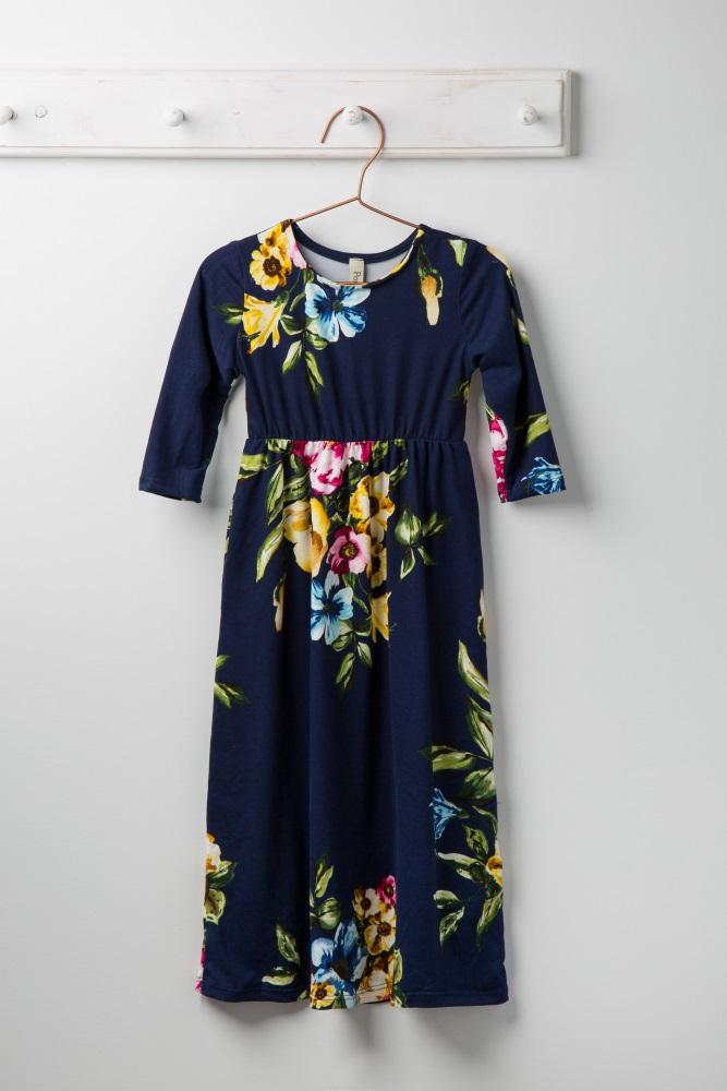 00e3dad5980 Navy Blue Floral Toddler Maxi Dress