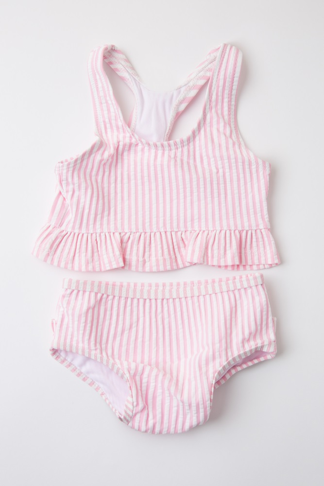 6664688346ee0 Pink Striped Ruffle Trim Baby Swimsuit Set
