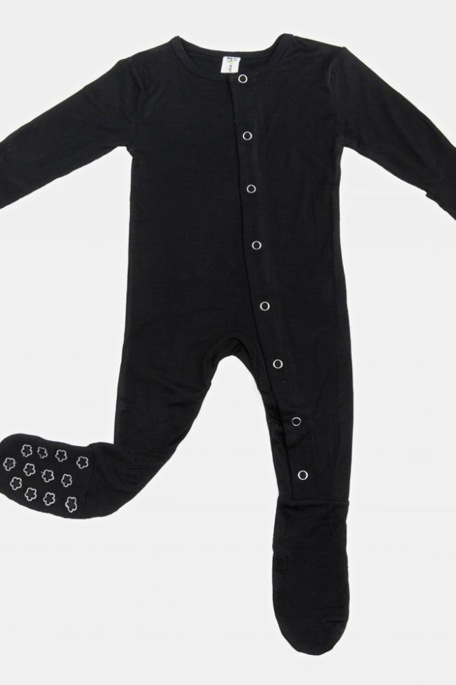 768497d95316 Black Solid Embroidered Baby Footed One Piece