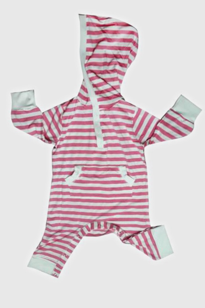 6e8790579 Pink Striped Long Sleeve Hooded Baby Jumpsuit