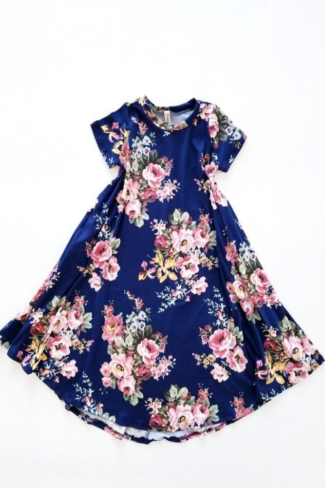 697192fcb4b Navy Blue Floral Toddler Swing Dress