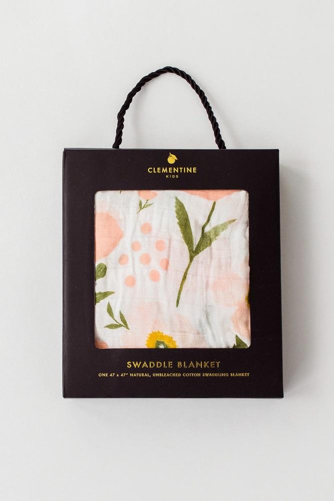 c00b7882ac Peach Blossom Print Muslin Swaddle Blanket
