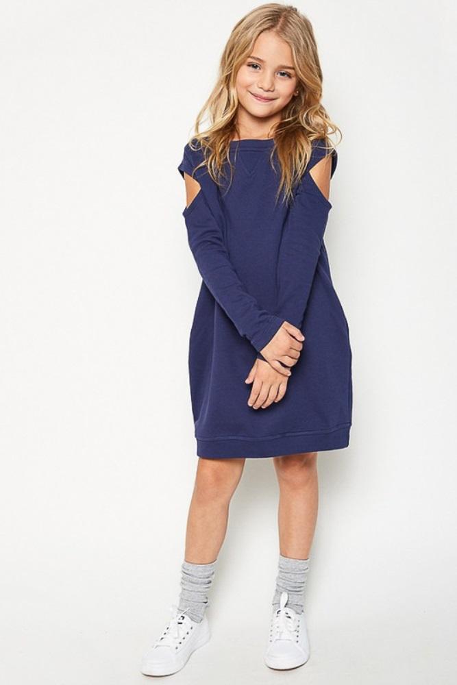 8f7368f08 Navy Blue Cold Shoulder Girls Sweater Dress