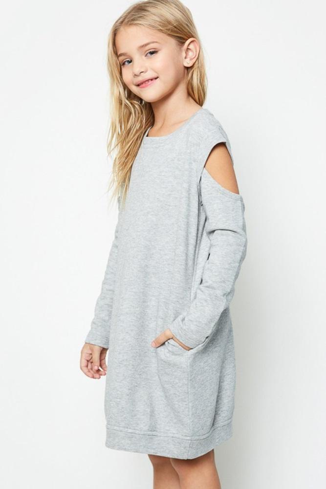 b7d844fd4 Heather Grey Cold Shoulder Girls Sweater Dress