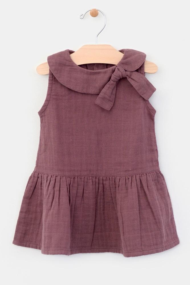 4a3024cbc8e5 Burgundy Collar Tie Accent Baby Dress