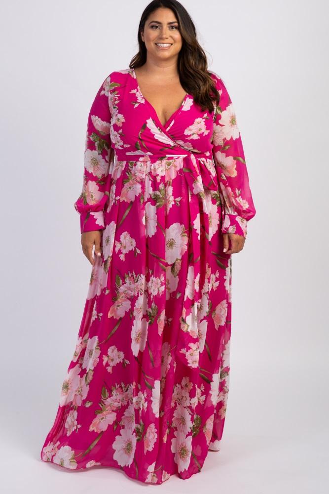 Pink Floral Chiffon Plus Maxi Dress