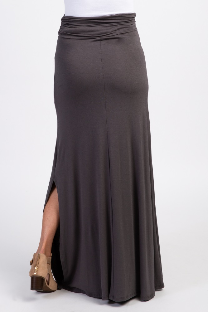 genuine offer discounts 100% high quality Charcoal Grey Slit Side Maxi Skirt