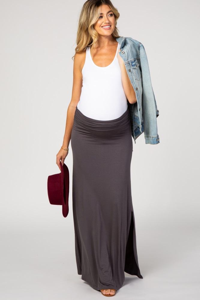 thoughts on new york enjoy clearance price Charcoal Grey Slit Side Maternity Maxi Skirt