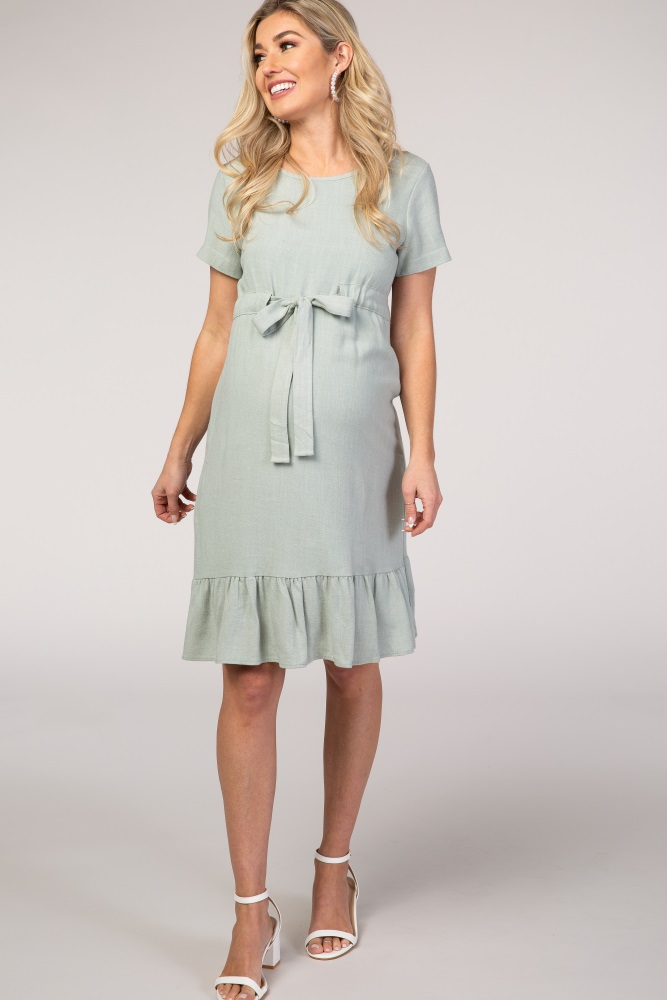 pinkblush mint waist tie ruffle hem linen maternity dress