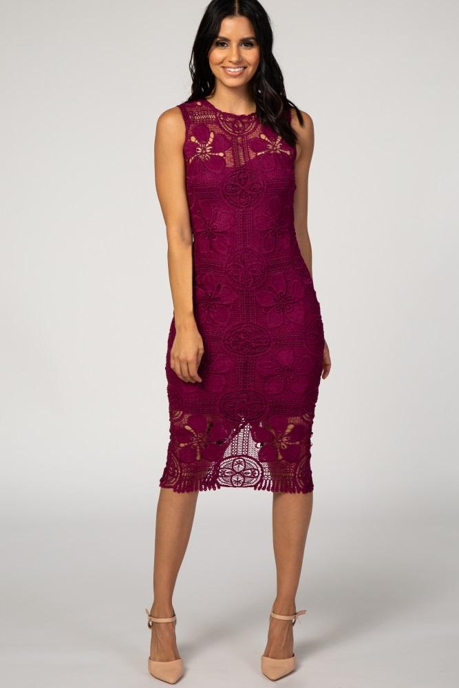 Burgundy Lace Overlay Sleeveless Midi Dress