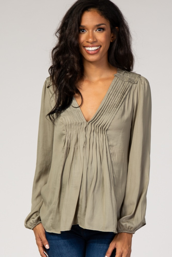 light olive pleated front maternity blouse