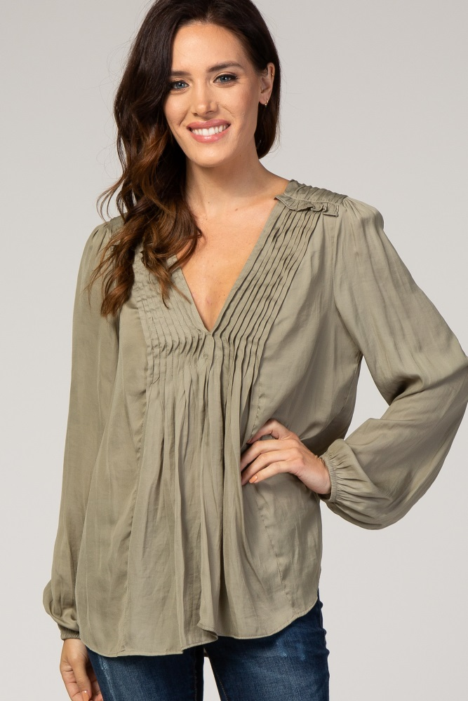 light olive pleated front blouse