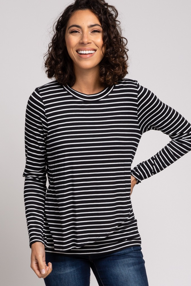 Black Striped Layered Front Long Sleeve Maternity Nursing Top