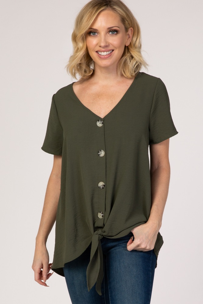 light olive button tie front top