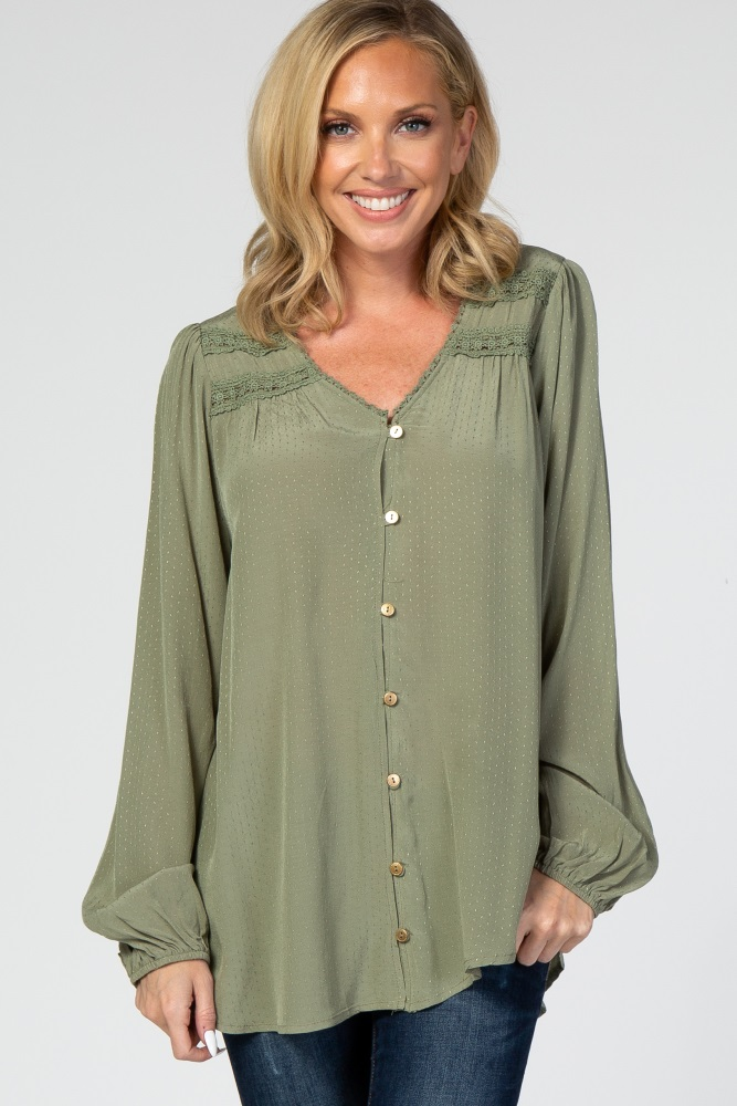 light olive button down crochet accent top