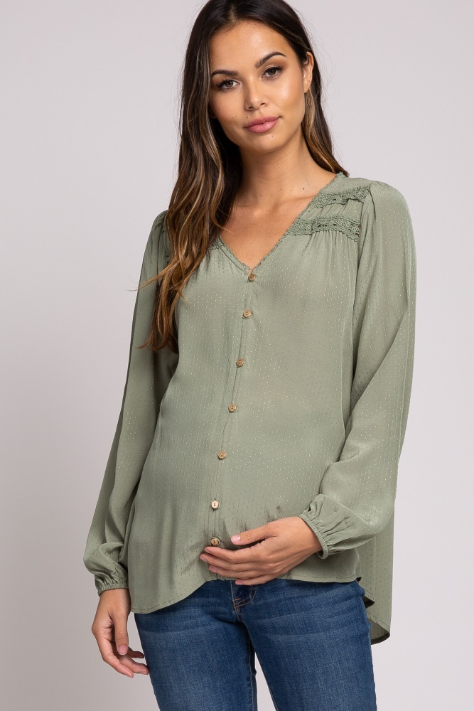 light olive button down crochet accent maternity top