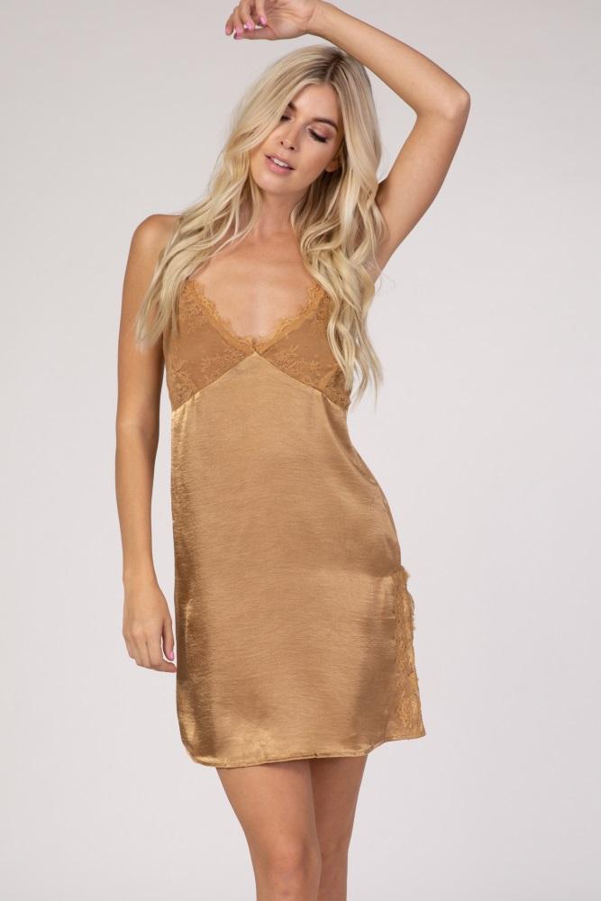 gold satin style lace detail slip sleep dress
