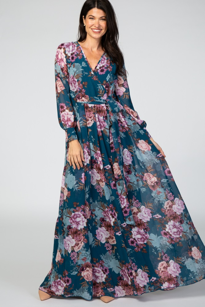 maxi chiffon long sleeve dress