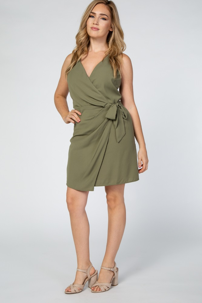 light olive woven dress