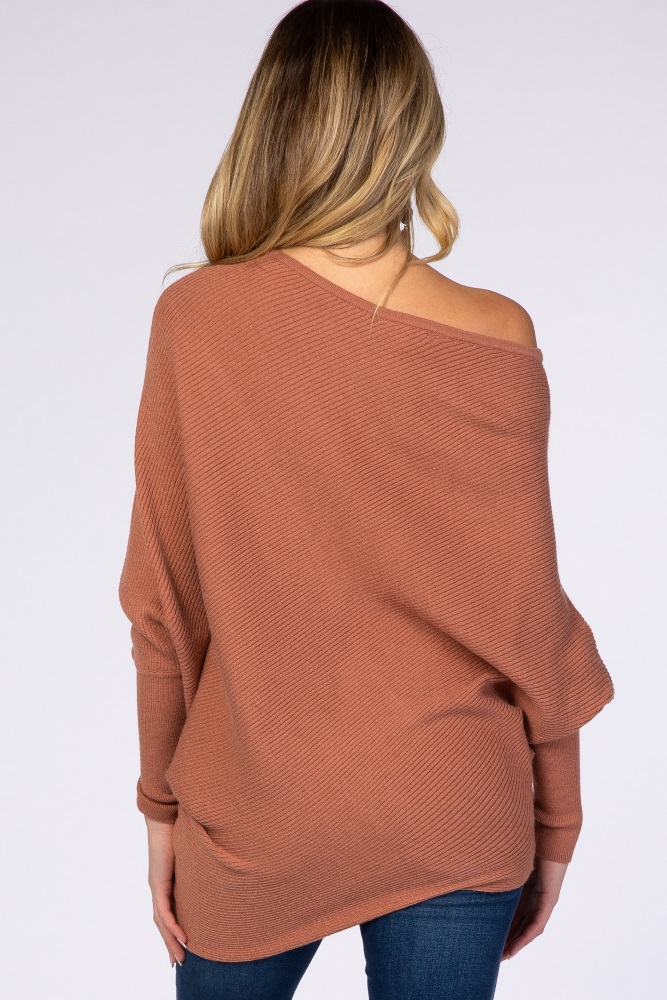 Rust Rib Knit Off Shoulder Maternity Sweater