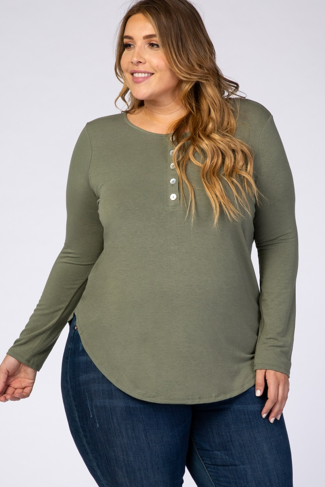 light olive button long sleeve plus top