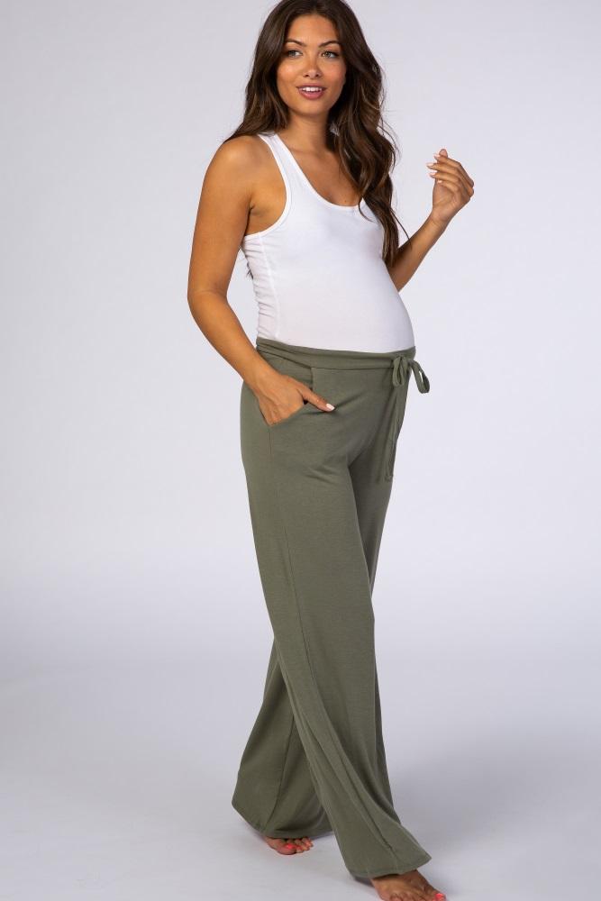 olive drawstring wide leg maternity pant