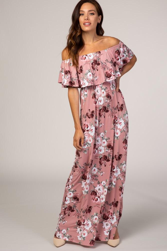 pink floral off shoulder ruffle maxi dress