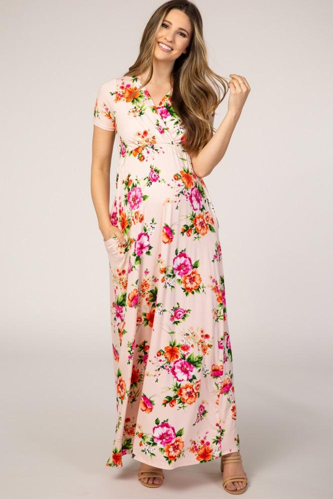 light pink floral wrap maternity maxi dress
