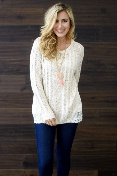 cf72b86299819 Beige Cable Knit Lace Back Maternity Sweater
